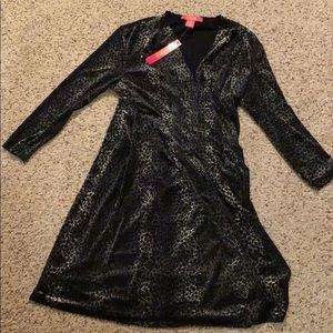 A black and white velvet dress